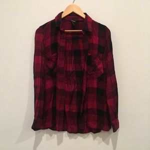 Dark red and black plaid flannel